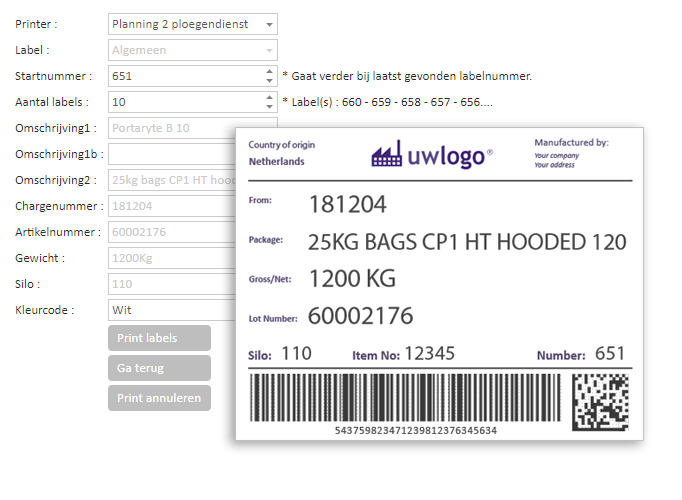 MES software - print labels en barcodes